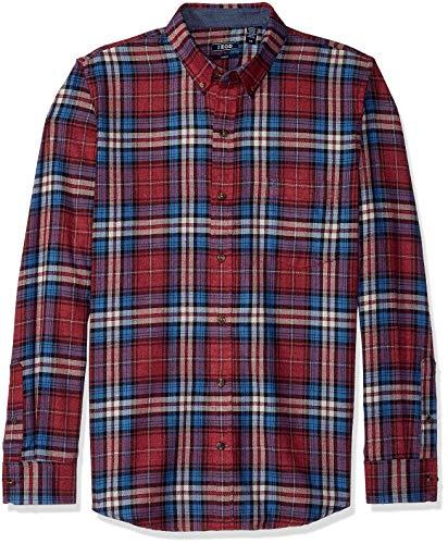 IZOD Men's Slim Fit Stratton Long Sleeve Button Down Plaid Flannel Shirt, Biking red, - Flannel Izod