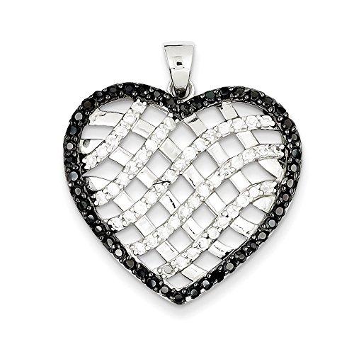 Sterling argent noir et blanc de cristal CZ-Coeur Strass Pendentif JewelryWeb