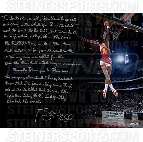 Spud Webb Signed 1986 NBA Slam Dunk Contest 16x20 Story Photo - Steiner Sports Certified - Autographed NBA Photos