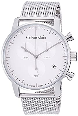 CALVIN KLEIN K2G27126 Mens CITY Swiss Made Milanese Chronograph Watch w/ Date