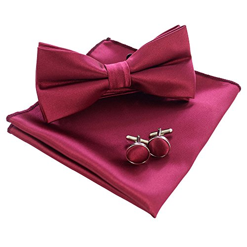 JEMYGINS Mens Burgundy Bow Tie Pre-tied Silk Bowtie and Pocket Square Cufflink Set (4)