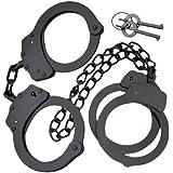 Professional Double Lock Handcuffs & Leg Cuffs - Stainless Steel - Black