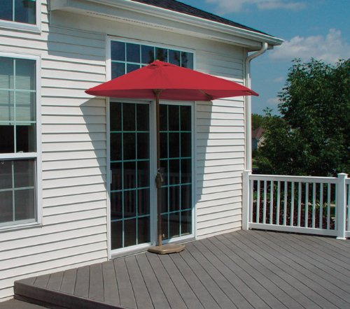 CC Home Furnishings 9' Half Canopy Patio Market Umbrella: Red - -