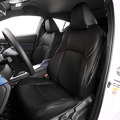 Custom Leather Seat - Bwen czd1123a Car Seat Covers Leather Custom Full Set Seat Covers for 2018 2019 Toyota CH-R,Black