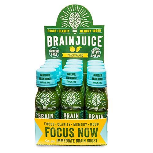 BrainJuice Brain Booster Shot, Caffeine Free Peach Mango | Liquid Drink Supplement for Improved Memory, Focus, Clarity & Mood, Gluten-Free, Non-GMO | 2.5 fl oz, 12Count