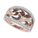 10K Rose Gold Dark Brandy Diamond Chocolate Brown Filigree Floral Band Ring 1/4 Ctw.
