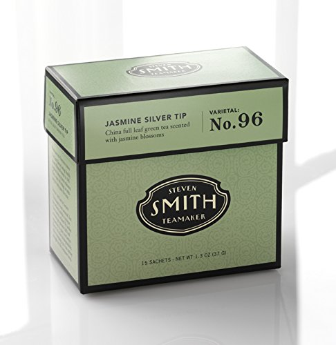 Smith Teamaker Jasmine Silver Tip Blend No. 96 (Full Leaf Green Tea), 1.3 oz, 15 Bags