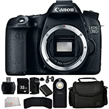 Canon EOS 70D Digital SLR Camera (Body Only) + 32GB Bundle + 7PC Accessory Kit. Includes 32GB Memory Card + High Speed Memory Card Reader + Extended Life Replacement Battery (LP-E6) + Memory Card Wallet + Wireless Remote + Carrying Case + Microfiber Cleaning Cloth