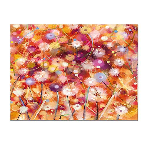 SATVSHOP Wall decoration-32Lx24W-Watercolor Flower Home Pastel Floral Blooms Spring Season Plants Scroll Painting Orange ed.Self-Adhesive backplane/Suitable for bedrooms,Living Rooms,corridors.