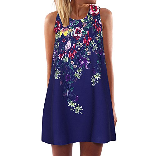 (Dressin Vintage Boho Beach Dress, Women Ladies Loose Summer Sleeveless 3D Floral Print Bohe Tank Top Mini Dresses)