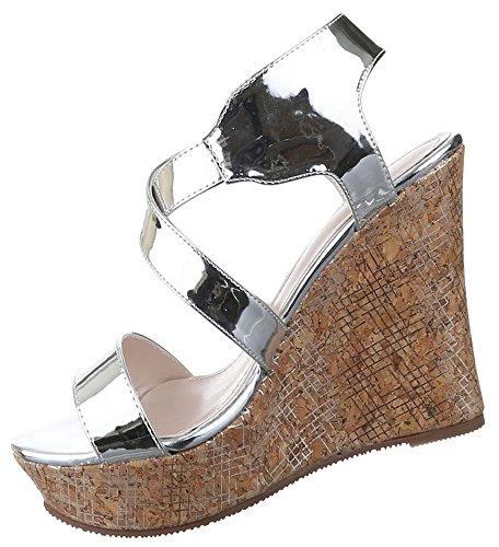 Damen Sandaletten Schuhe Keilabsatz Pumps Riemchen Schwarz gold silber 36 37 38 39 40 41 Silber
