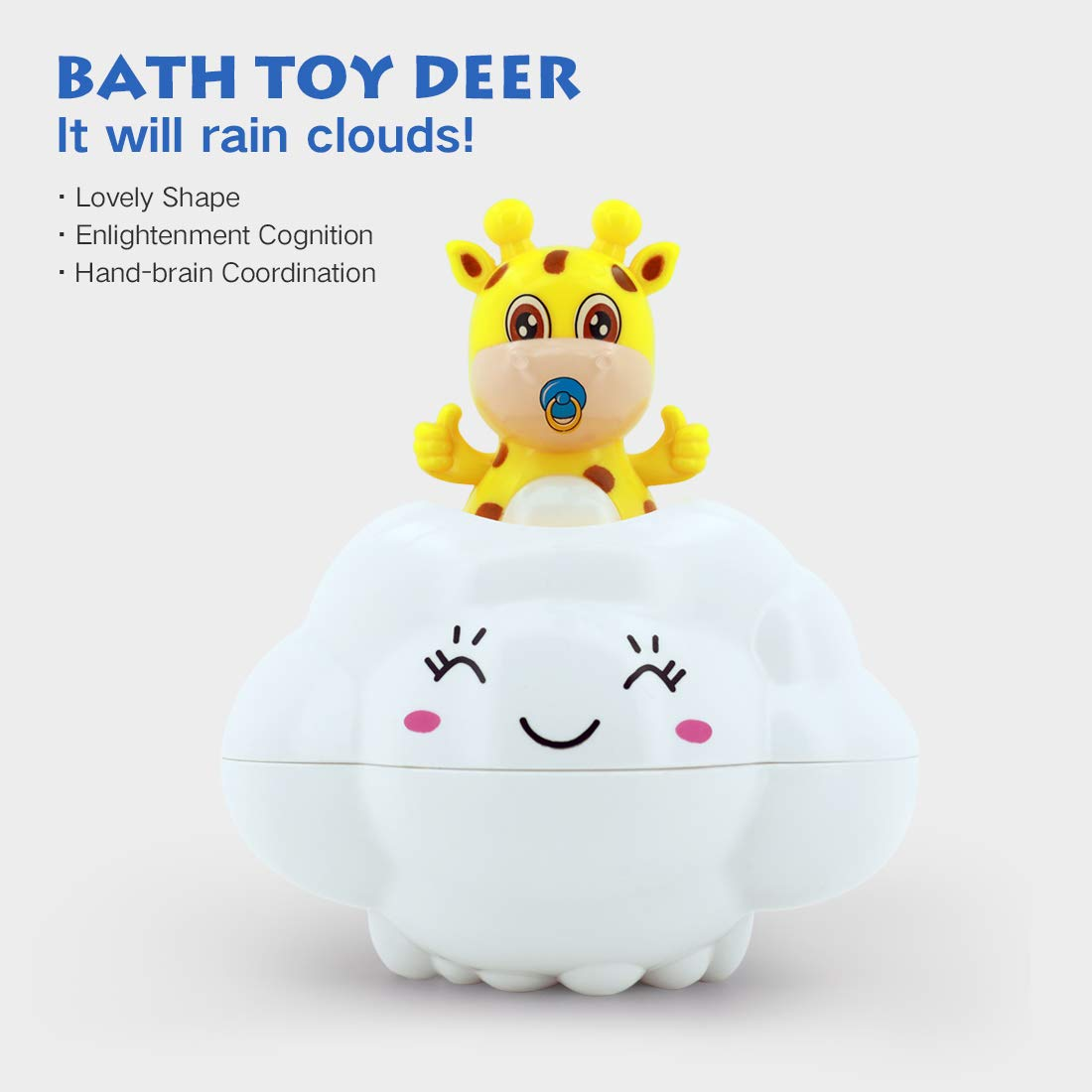 Giraffe Hidden in The Rain Cloud Childrens Bath Tub Water Toys Super Interactive Bathtub Happy Hour Game in The Bath Bathroom Pool Bath Baby AURANY Bath Toys