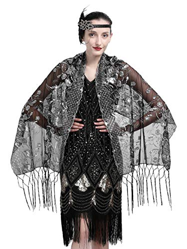 Zivyes 1920s Shawl Beaded Sequin Wraps Evening Cape Wedding Bridal Scarf Flapper Cover up by Zivyes
