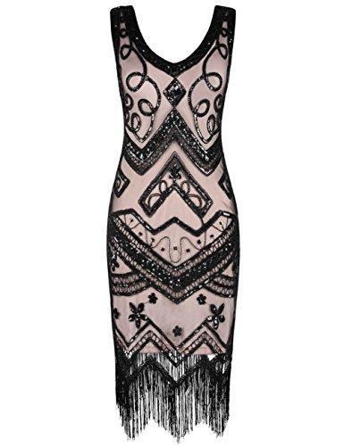 kayamiya Damen Flapper Kleider 1920er Jahre V-Ausschnitt Inspiriert  Paillette Fransen Großes Gatsby Kleid Black ec9e9a615a