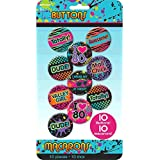 "Awesone 80's Party Classic Buttons Accessory, Tin Metal, 1"" x 1"", Pack of 10"