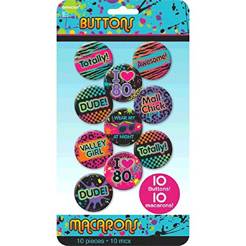 80's Party Buttons, 10 Ct. -