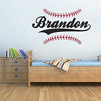 BATTOO Personalized Baseball Name Wall Decal   Boys Name Wall Decal   Sports  Wall Decal