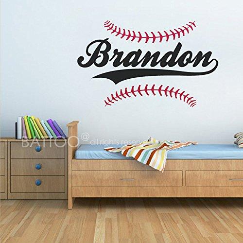 Baseball Decal Vinyl Sticker (BATTOO Personalized Baseball Name Wall Decal - Boys Name Wall Decal - Sports Wall Decal - Boys Room Decor - Teen Name Vinyl Wall Decal)