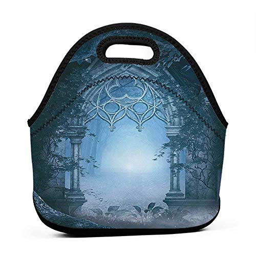Convenient Lunch Box Tote Bag Fantasy,Passage Doorway Through Enchanted Foggy Magical Palace Garden at Night View,Navy Blue and Gray,lunch bag for kids with strap