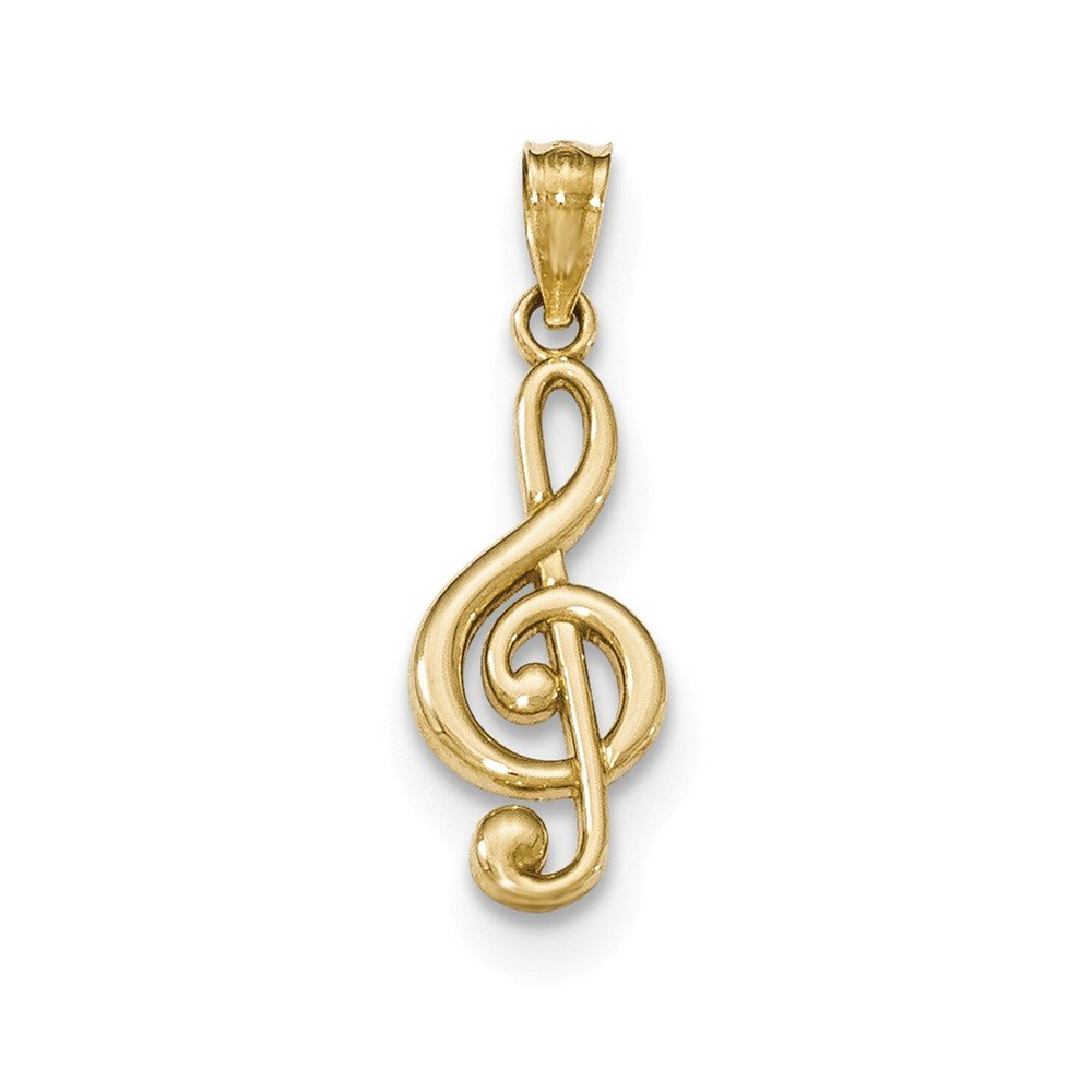 14k Gold Polished Music Note Pendant