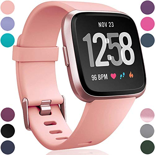 Wepro Replacement Bands Compatible with Fitbit Versa SmartWatch, Sports Watch Band for Women Men, Large, Peach