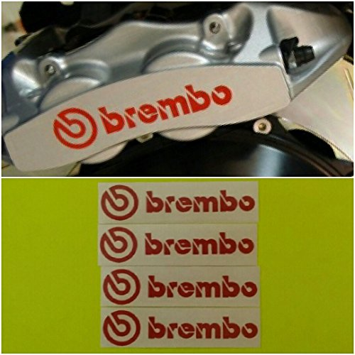 R&G Brembo HIGH TEMP Brake Caliper Decal Set of 4 Stickers (Red)