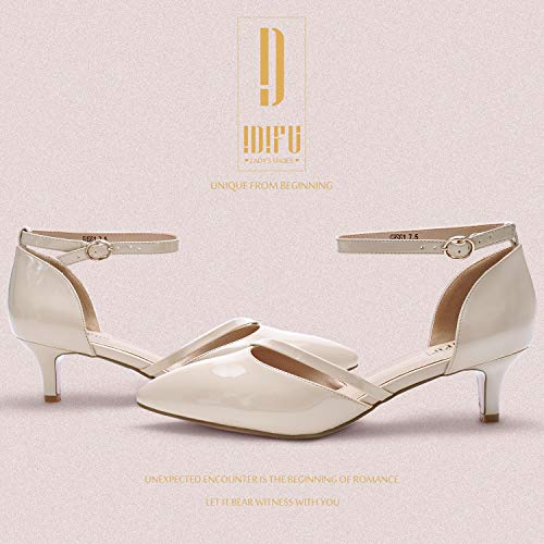 d9c98153eafcf IDIFU Women's IN2 Maxine Sequins Mid Kitten Heels Closed Pointed Toe  D-Orsay Party Sandal Low Heels Bridal Pump Wedding Shoes (5 M US, Nude  Patent)