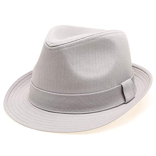 Classic Trilby Short Brim 100% Cotton Twill Fedora Hat with Band (Light Grey, SM)