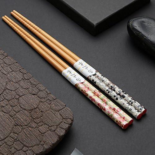 10 pares de palillos japoneses Palillos de bamb/ú Palillos naturales reutilizables 22.5CM Flores ricas