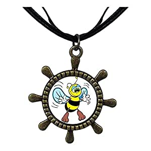Chicforest Bronze Retro Style Flying Honeybee Ship Steering Wheel Pendant