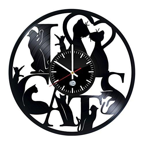 Unique Cat Design handmade vinyl record wall clock - Best gift