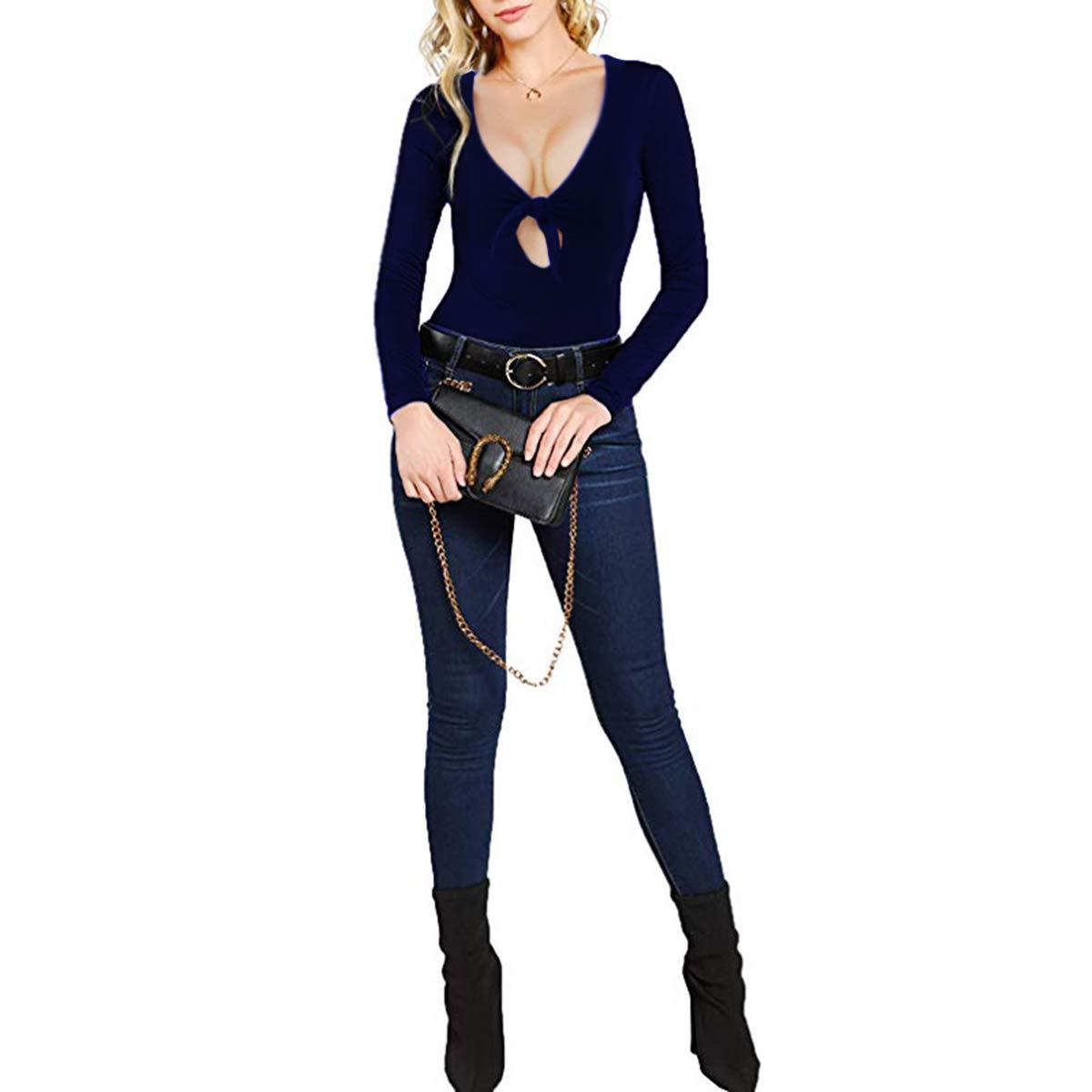 Womens Deep V Neck Bodysuit Long Sleeve Elastic Jumpsuit Tops