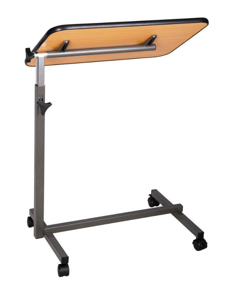 Adjustable Height Tilting Top Hospital Food Overbed Table Tilt-Top Overbed Table