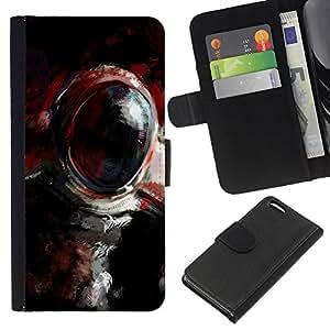 LECELL--Cuero de la tarjeta la carpeta del tirón Smartphone Slots Protección Holder For Apple Iphone 5C -- Pintura al óleo Cosmonauta --