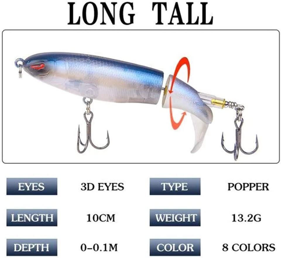 Liamostee Floating Rotating Tail Lures Hard Bait Outdoor Sea Freshwater Fishing Bait Lure Tackle