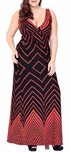 Di Più Stampato A V Formato Vestito Donne Rosso Lunghe Bfy Sexy Profondo Strisce Delle Scollo Maxi Maniche Bqx5Sw45gp