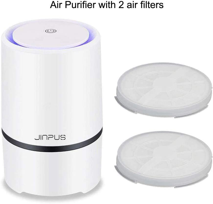 JINPUS Air Purifier Small Air Purifiers with 2pcs HEPA Filter, Upgraded Whisper Quiet Air Purifer for Home