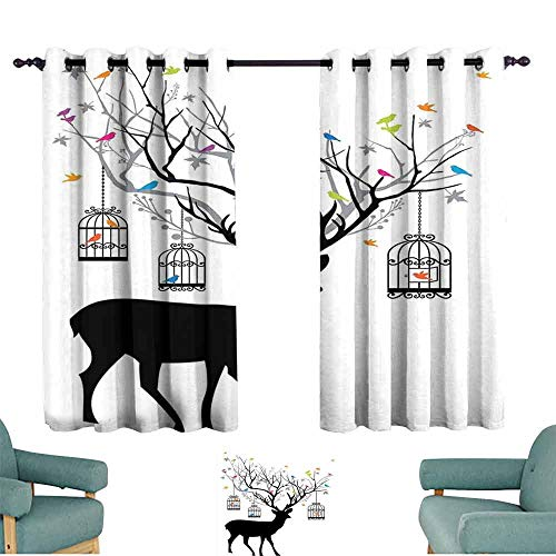 HCCJLCKS Polyester Curtain Antlers Decor Deer with Colorful Birds and Birdcages Silhouette Ornament Vintage Style Children's Bedroom Curtain W63 xL72 ()