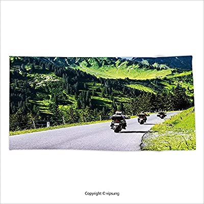 Vipsung Microfiber Ultra Soft Bath Towel Mountain Decor Bikers Riding On Mountainous Highway In Alpine Mountains Digital Print Hunter Green For Hotel Spa Beach Pool Bath