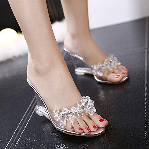 SUHANG Sandalias Temporada Salvaje Bordada De Perforación De Agua Mujer Zapatos De Cristal Transparente Pendientes Con Boca De Pescado Sandalias De Tacón Alto De Zapatillas The Gold