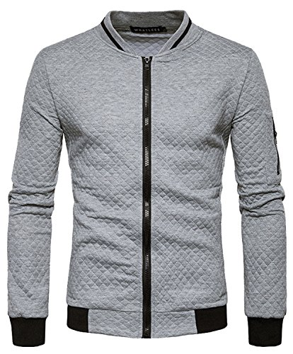 HOP FASHION Mens Casual Long Sleeve Baseball Collar Diamond Design Zipper Up Jacket Elastic Hem Lightweight Sport Cotton Coat With Pockets HOPM035-LightGrey-M by HOP FASHION (Image #4)