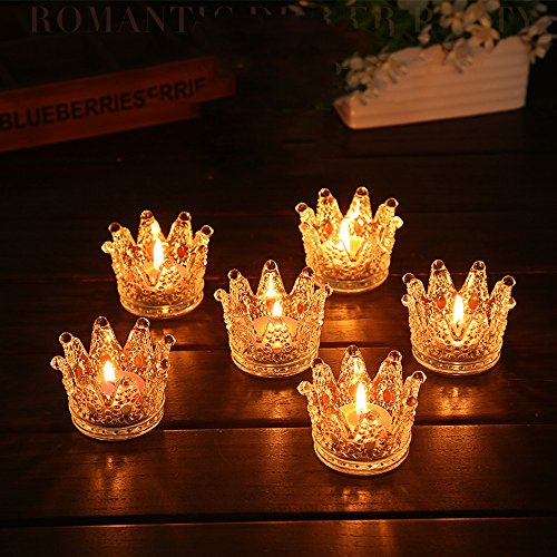 Crown Candle - Romantic Clear Glass Crown Design Home Wedding Party Tea Light Candle Holder (10)