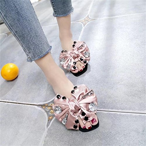 HUHU833 Fashion Women Bow Tie Flat Heel Anti Skidding Beach Shoes Sandals Slipper Pink ub3Qk7y
