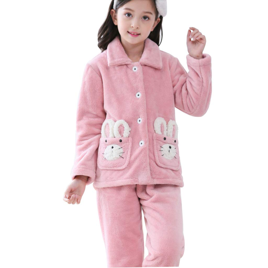 rose 150cm Hommesg wei shop Ensembles de Pyjama Pyjama en Flanelle pour Enfants Pyjama à Manches Longues Hiver pour Filles Pyjamas Filles VêteHommests Chauds à la Maison (Couleur   rose, Taille   150cm)