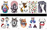 GGSELL GGSELL 10pcs tattoo tiger temporary tattoos in one packages,including tiger,elephant,deer,flowers,leaves,lady,dog,cat,rabbit,wolf,Mr.Tiger,beautiful lady,etc.