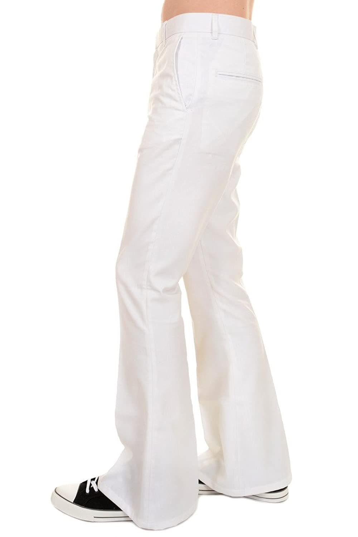 1960s Style Men's Clothing, 70s Men's Fashion 60s 70s Presley Vintage White Bell Bottom Trousers $35.00 AT vintagedancer.com