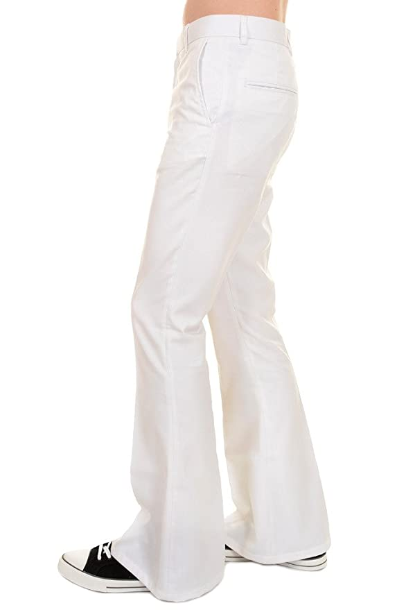 1960s Inspired Fashion: Recreate the Look Mens Run & Fly 60s 70s Presley Vintage White Bell Bottom Trousers $35.00 AT vintagedancer.com