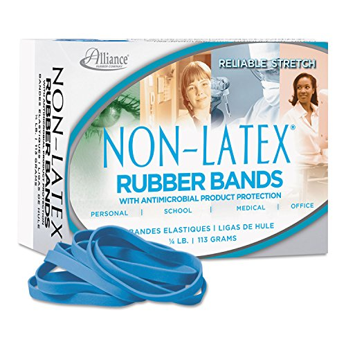 (Alliance 42649 Antimicrobial Non-Latex Rubber Bands, Sz. 64, 3-1/2 x 1/4, 1/4lb Box)