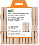 Honey-Can-Do DRY-01376 Wood Clothespins with Spring, 100-Pack, 3.3-inches Length