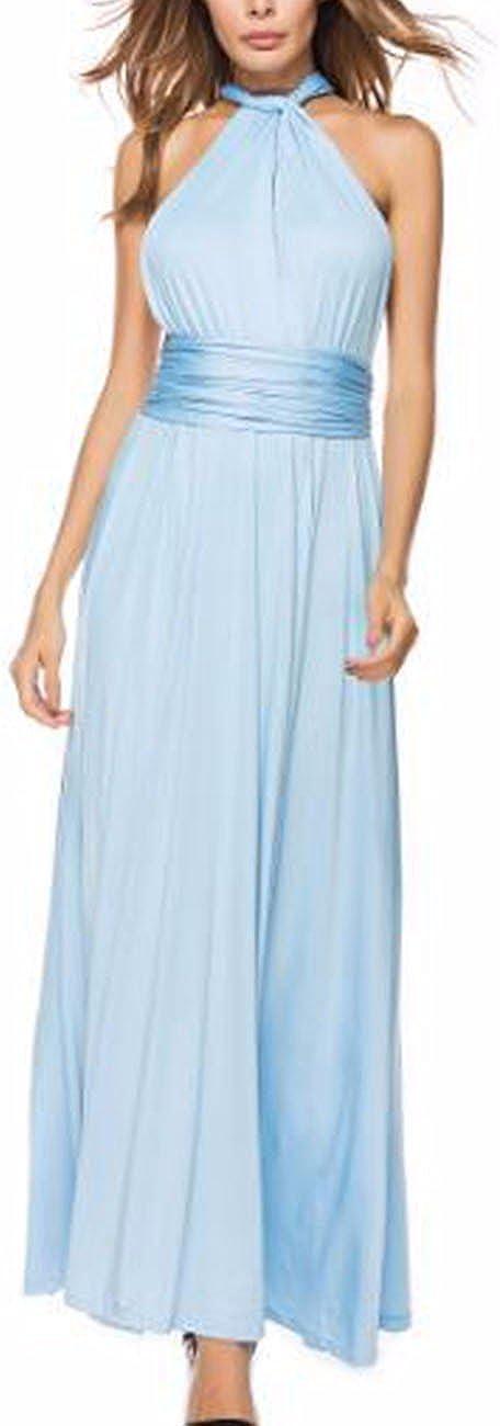 TALLA S. EMMA Mujeres Falda Larga de Cóctel Vestido de Noche Dama de Honor Elegante sin Respaldo Azul Eléctrico S